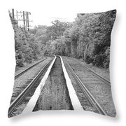 Train Tracks Running Through The Forest Throw Pillow