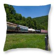 Train Watching At The Horseshoe Curve Altoona Pennsylvania Throw Pillow