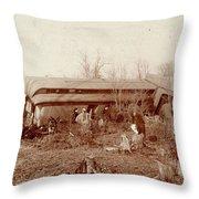 Train Wreck, 1890s Throw Pillow