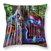Train Wreck Art In The Forest Throw Pillow