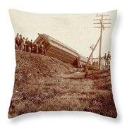 Train Wreck, C1900 Throw Pillow