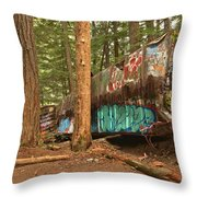 Train Wreck Canvas Among The Trees Throw Pillow