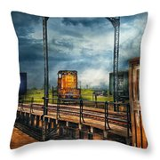 Train - Yard - On The Turntable Throw Pillow