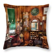 Train - Yard - The Stationmasters Office  Throw Pillow