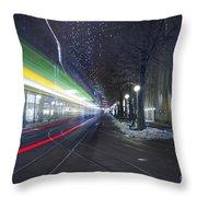 Tram At Night In Zurich Bahnhofstrasse Throw Pillow