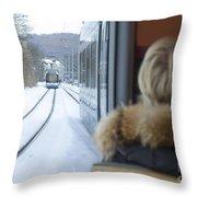 Tram In Winter Throw Pillow