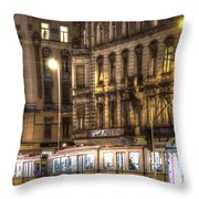 Tram Night Throw Pillow