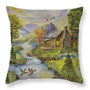 Tranquil Log Cabin Throw Pillow