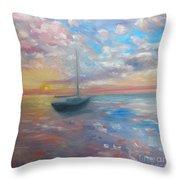 Tranquil Ocean Sunset Throw Pillow
