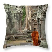 Tranquility In Angkor Wat Cambodia Throw Pillow by Bob Christopher