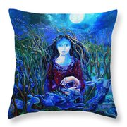Eostra Holds The Moon Throw Pillow