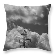 Transmission Tower In Storm Throw Pillow