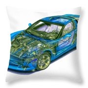 Transparent Car Concept Made In 3d Graphics 11 Throw Pillow