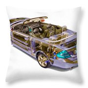 Transparent Car Concept Made In 3d Graphics 6 Throw Pillow