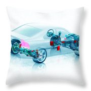 Transparent Car Concept Made In 3d Graphics 7 Throw Pillow