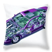 Transparent Car Concept Made In 3d Graphics 8 Throw Pillow