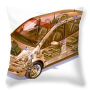 Transparent Car Concept Made In 3d Graphics 9 Throw Pillow