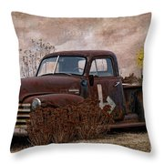 Transportation - Rusted Chevrolet 3100 Pickup Throw Pillow