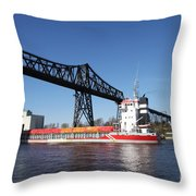 Transporter Bridge Over Canal Rendsburg Throw Pillow