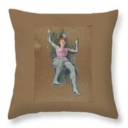 Trapeze Artist At The Medrano Circus Throw Pillow