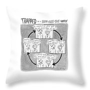Trapped In A How-are-you Vortex Throw Pillow by Roz Chast