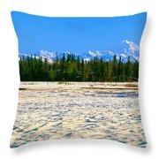 Trapper Creek And Mount Mckinley, Alaska Throw Pillow