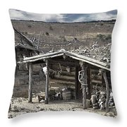 Trapper Dan's Log Cabins Throw Pillow