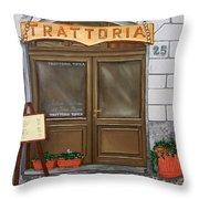 Trattoria Del Vino Buono Throw Pillow