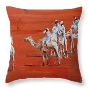 Travel By Camels Throw Pillow