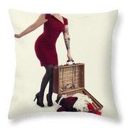 Travel Girl Throw Pillow