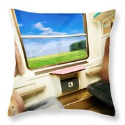 Travel In Comfortable Train. Throw Pillow