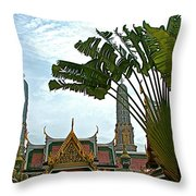 Traveler's Palm At Grand Palace Of Thailand In Bangkok Throw Pillow