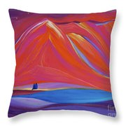 Travelers Pink Mountains Throw Pillow