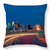 Traveling Into Denver Throw Pillow