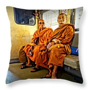 Traveling Monks Throw Pillow