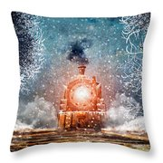 Traveling On Winters Night Throw Pillow
