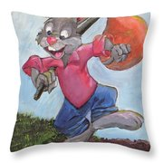 Traveling Rabbit Throw Pillow by Terry Lewey