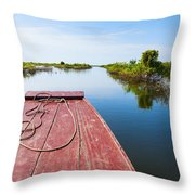 Traveling Through Tonle Sap Lake Throw Pillow