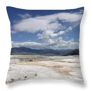 Travertine Hill Of Mammoth Hot Springs  Throw Pillow