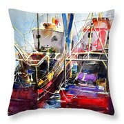 Trawlers In Early Light Throw Pillow