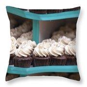 Trays Of Cupcakes Closeup Throw Pillow