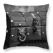 Treasure Chest In Black And White Throw Pillow