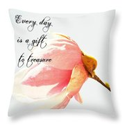 Treasure Each Day Tulip Tree Flower Throw Pillow