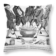 Treaty Of Paris Cartoon Throw Pillow