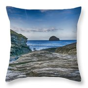 Trebarwith Strand Cornwall Throw Pillow