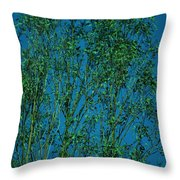 Tree Abstract Blue Green Throw Pillow
