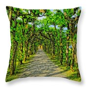Tree Alley In Castle Park Throw Pillow