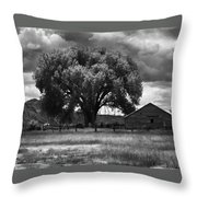 Tree And Barn 1 Bw Throw Pillow