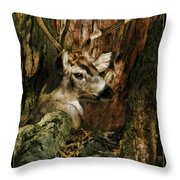 Tree And Buck Throw Pillow
