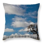 Tree And Fence On A Landscape, Santa Throw Pillow